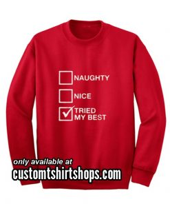 Naughty List Nice List Tried My Best Funny Christmas Sweatshirts